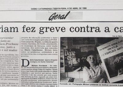Matéria do Diário Catarinense de 1990. Foto: Arquivo pessoal.