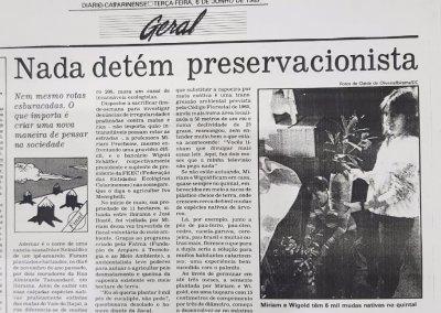 Matéria do Diário Catarinense de 1989. Foto: Arquivo pessoal.